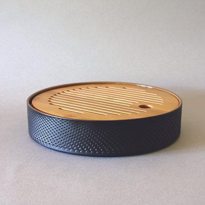 Circle Tea Boat, Ceramic & Bamboo, Black (M)