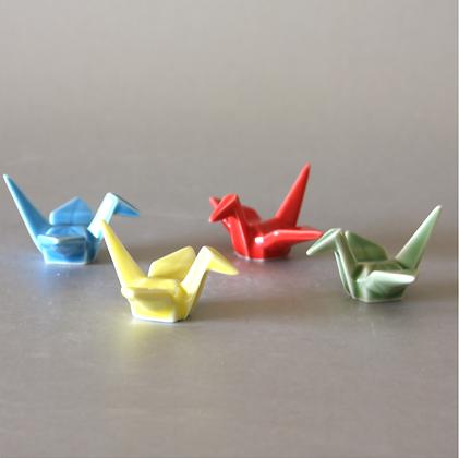 Porcelain Origami Cranes, Set of 4