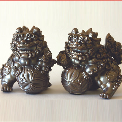 Gray Fu Lion Pair