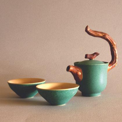 Twig Handle T Pot & 2 Cups, Green