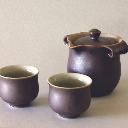 Tear-Drop Spout Gaiwan & 2 Cups, Dark Purple