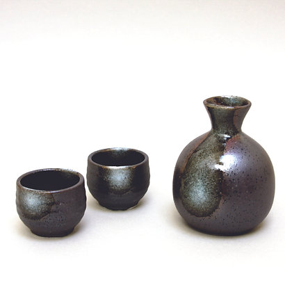 Tenmoku Sake Set, 1 Bottle & 2 Cups