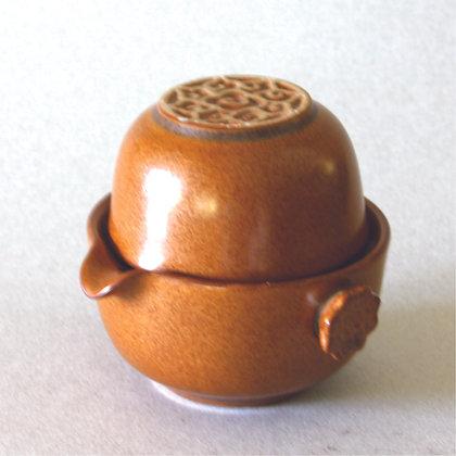 One Tea Cup/Pot, Flower Motif, Brown