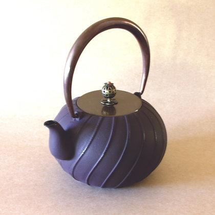 Iron Tea Pot, Copper Handle, Line Pattern