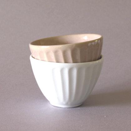 Latte Cups, White & Tan, Set of 2