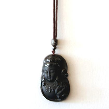 Obsidian Kwan Yin Necklace
