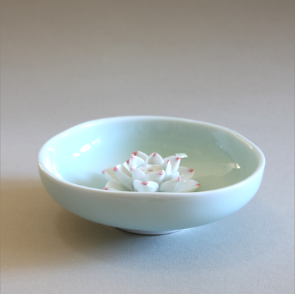 Lotus Flower in Plate, Blue