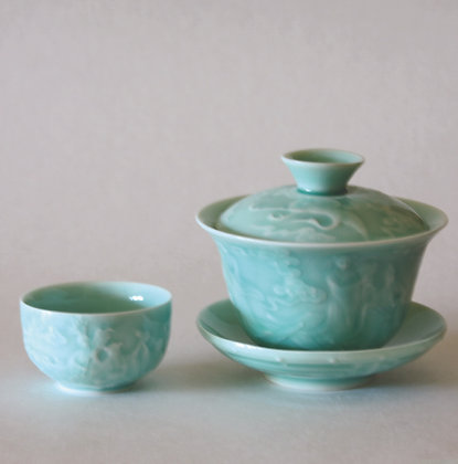 Crane Gaiwan & 2 Cups