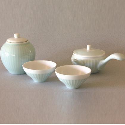 Celadon Tea Pot & 2 Cups & Canister