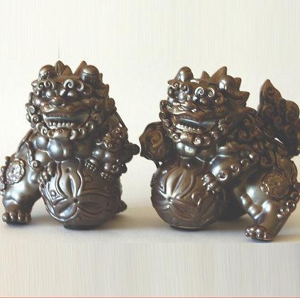 Gray Fu Lion Pair