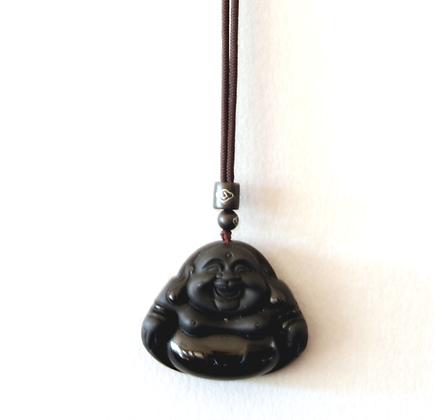 Obsidian Hotei Necklace