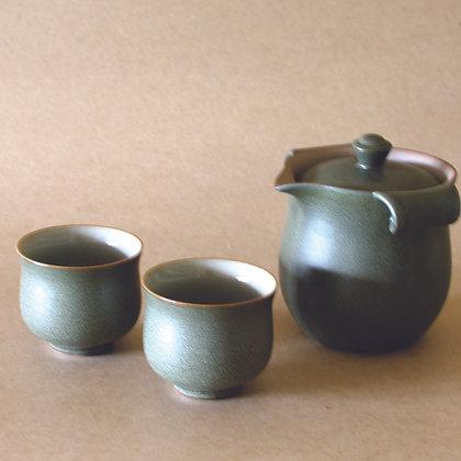 Tear-Drop Spout Gaiwan & 2 Cups, Sage
