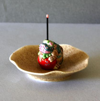 Fu Lion Figure Incense Stand & Plate