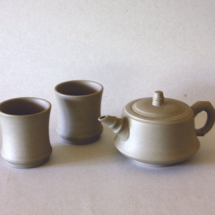 Yixing Bamboo Tea Pot & 2 Cups