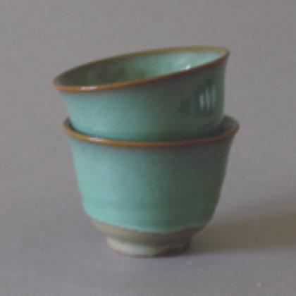 Light Green/Brown Tea Cups, Set of 2