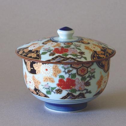 Arita Peony Flower Tea Cup w/ Lid