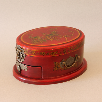 Oval Jewelry Box, Red Bird