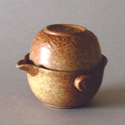 One T-Cup & Pot - Brown Pattern