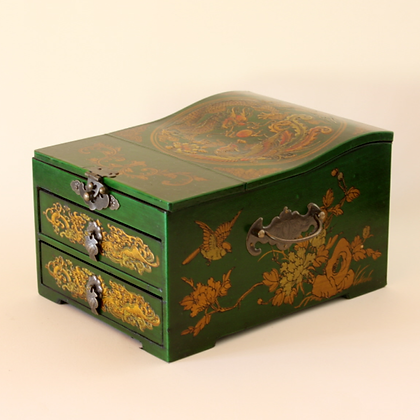 Jewelry Box with 2 Drawers, Green