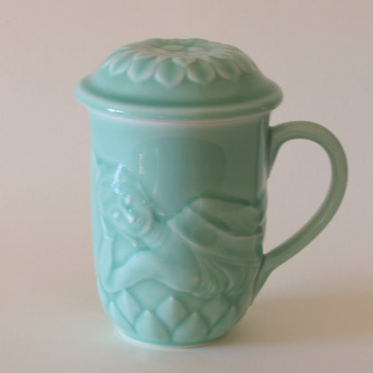 Buddha Mug with Lotus Lid, Celadon