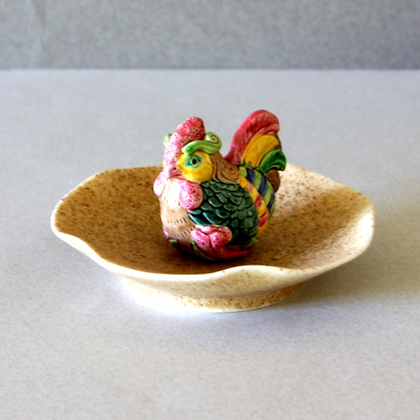 Rooster Figure Incense Stand & Plate