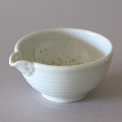 Tea Bowl w/ Spout, White/Green