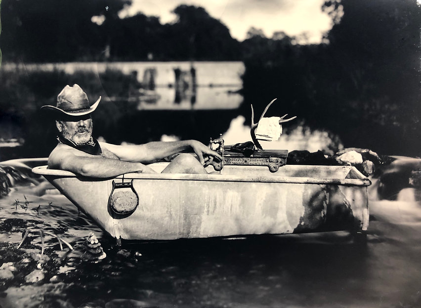 The Traveling Cowboy Tub tintype