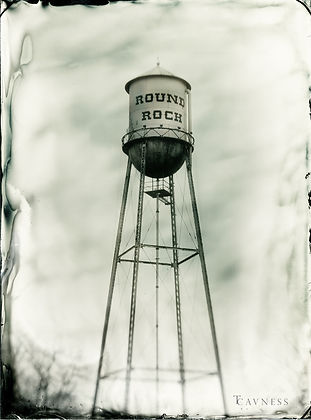 Round Rock Water Tower in collodion