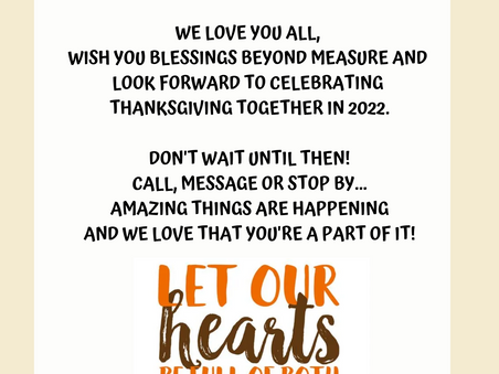 House in the Woods will not be hosting Thanksgiving at the lodge in 2021. Join us again in 2022
