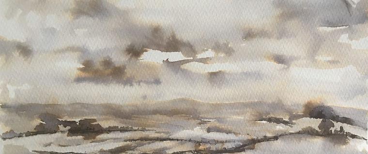 pnoramic landscape -ink wash