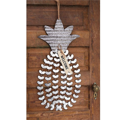 Tin Pineapple Welcome Door Hanger