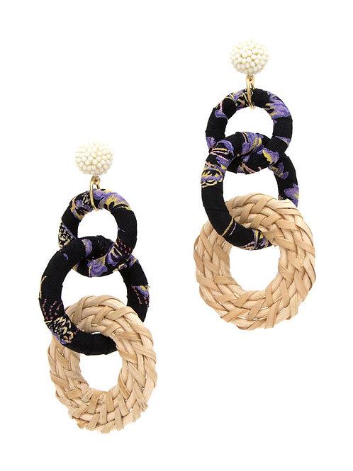 Black Fabric Link Earrings