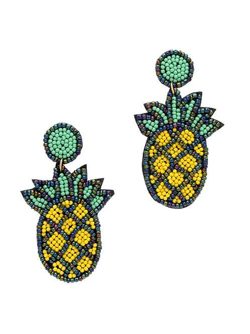 Yellow Pineapple Earrings