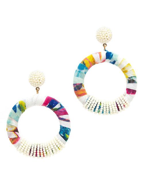 Multi Fabric Hoop Earrings