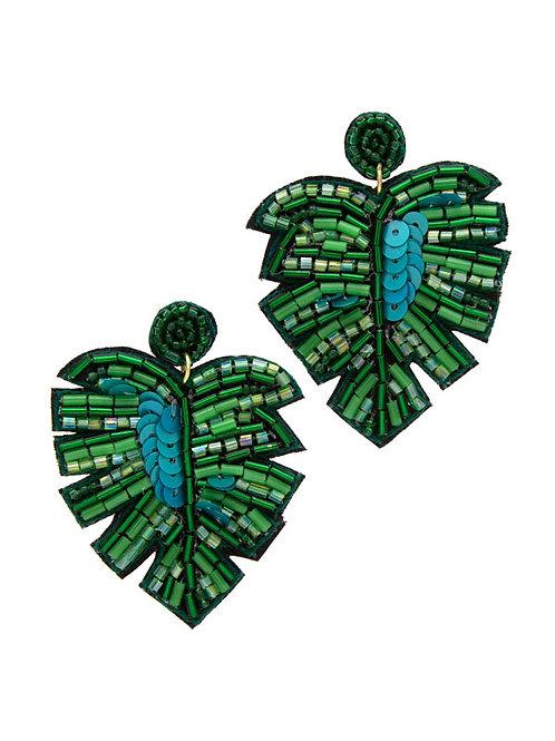 Green Palm Leaf Earrings