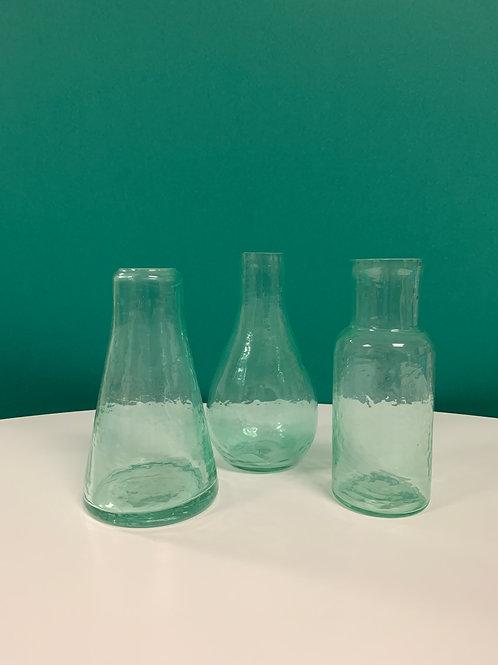 Aqua Glass Bud Vases-Set of 3