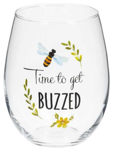 Time to get Buzzed stemless wine glass