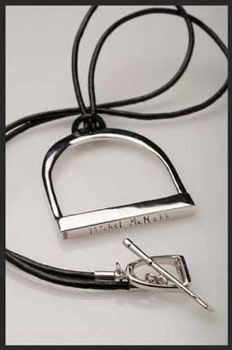 Large Silver Stirrup on Leather Necklace