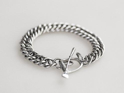 Silver Curb Chain Braclet