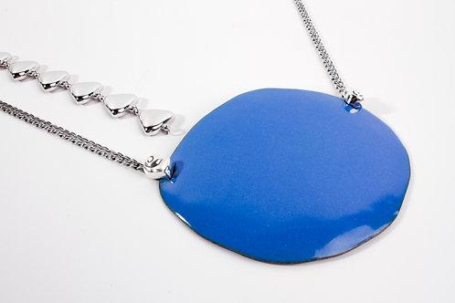 Large Blue Enamel & Silver Necklace