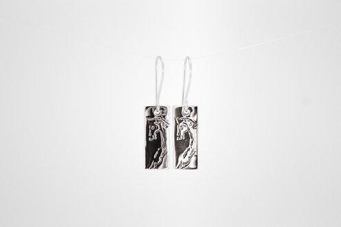 Silver Rectangle Horse Head Earrings