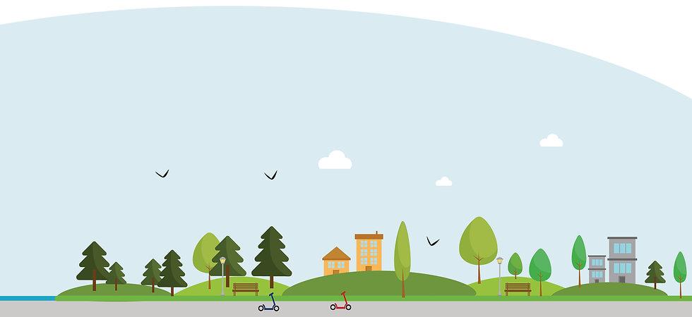 Illustration fond campagne trottinette électrique