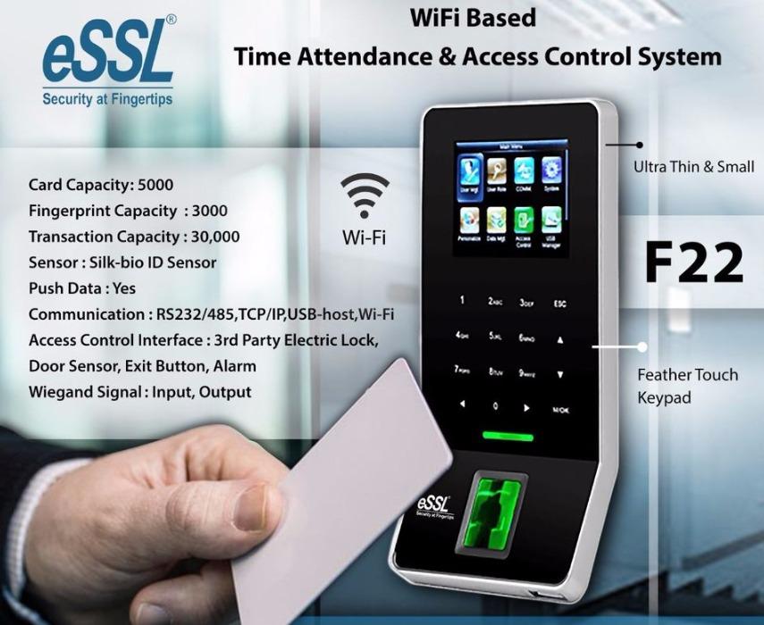 eSSL F22 Wi-Fi Fingerprint Biometric Time Attendance Machine & Access Time Attendance Machine & Acce