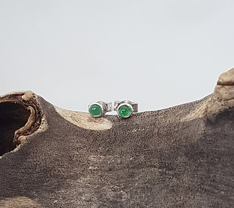 Silver Stud Earrings with Birthstone