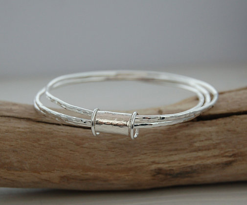 Triple Bangle, sterling silver, birthstone optiona