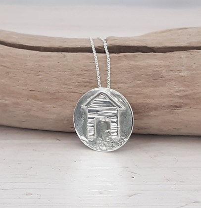 Recycled Sterling Silver Beach Hut Pendant