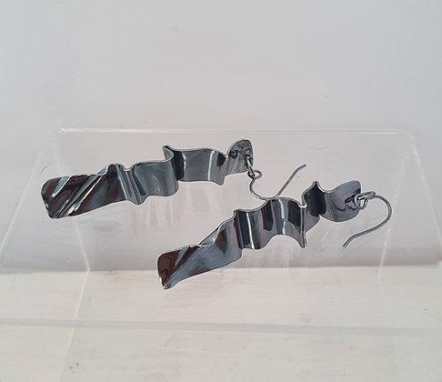 'Flow' Blackened Silver Earrings ~ One-Off Piece