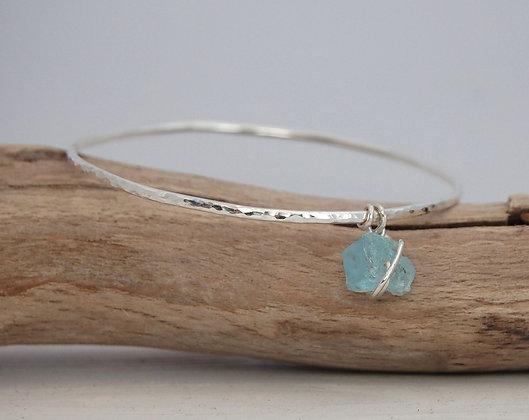 Sterling Silver & Aquamarine Bangle