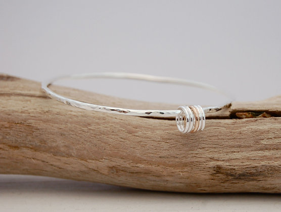 Hammered handcrafted Silver & Gold Five Ring Bangle
