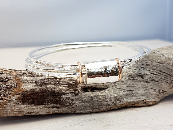 Triple Bangle, Silver with rose gold rings